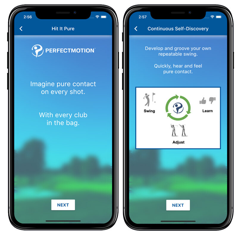 ali taylor golf and perfect motion application mockup